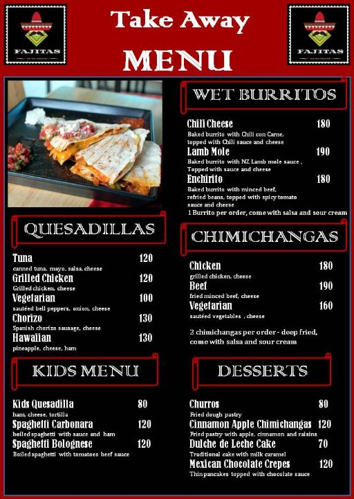 Fajitas Tex Mex take away menu