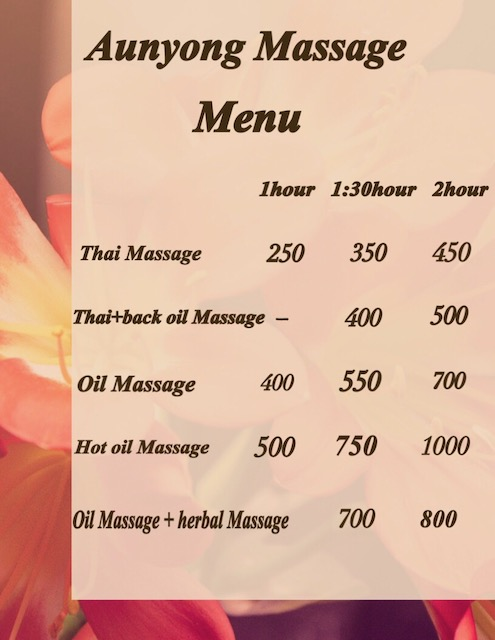 Aunyong Massage Chiang Mai menu