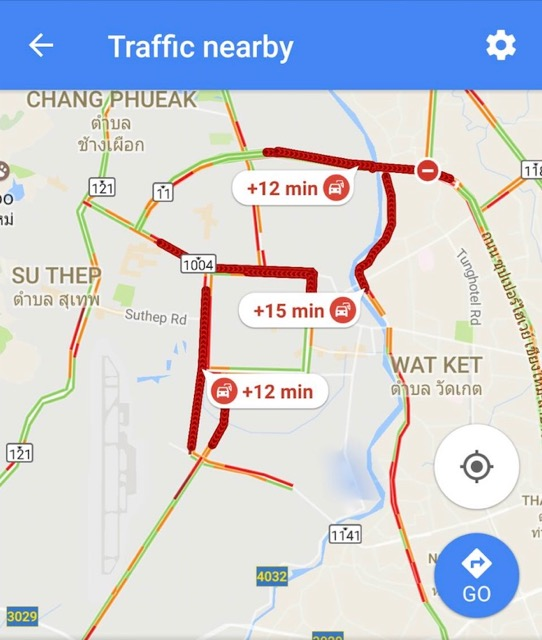 Traffic jams are more and more common in Chiang Mai