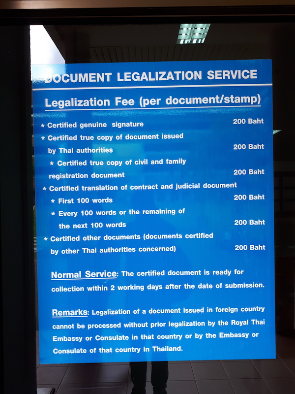 Legalisation fees in Chiang Mai